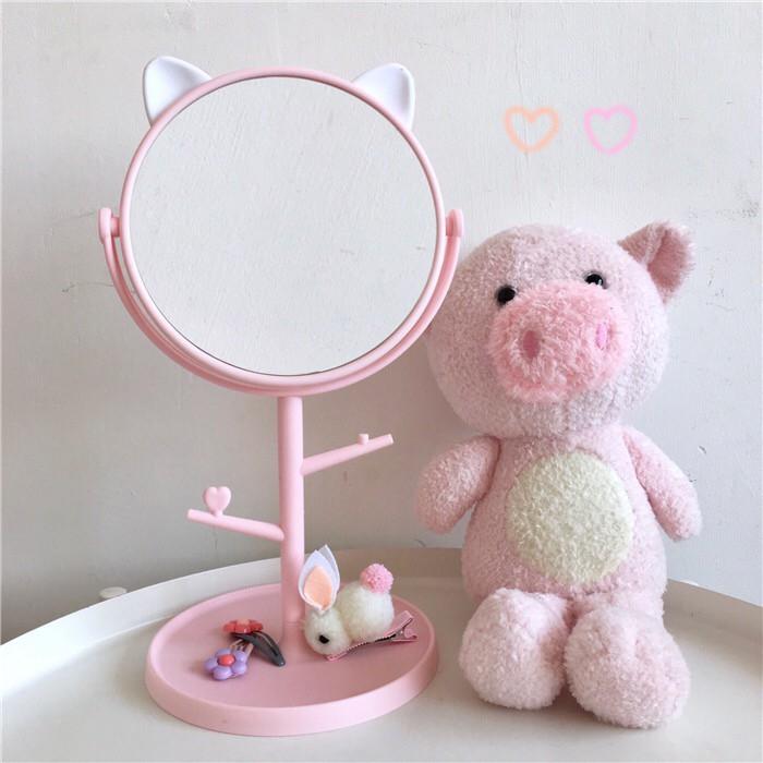 Gương Trang Điểm Để Bàn Hình Tai Mèo Dễ Thương - 2 Màu