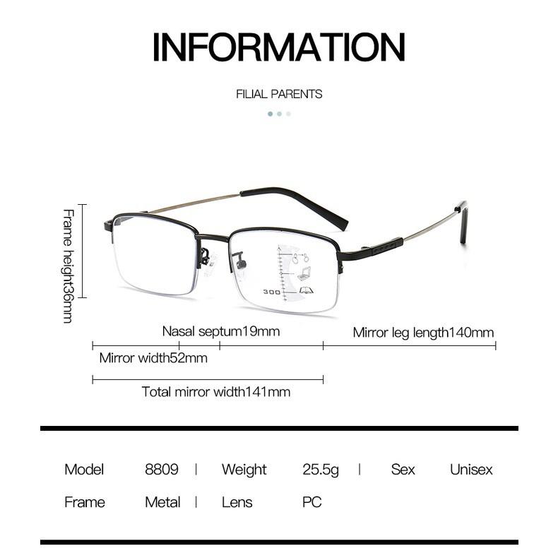 Kính đọc đa tiêu điểm tiến bộ, kính thay đổi màu ngoài trời chống ánh sáng xanh chống ánh sáng...