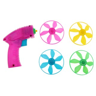 Plastic Colorful Flying Saucer Launcher Set Space Toy Kids Developmental