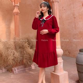MEDYLA - Váy bầu mùa đông tuyết nhung tặng kèm tag cài áo xinh - VS563 thumbnail