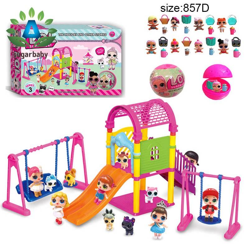 Children Baby Toy Set Surprise Doll Park House Game Slide Playset Girls Kids Gift