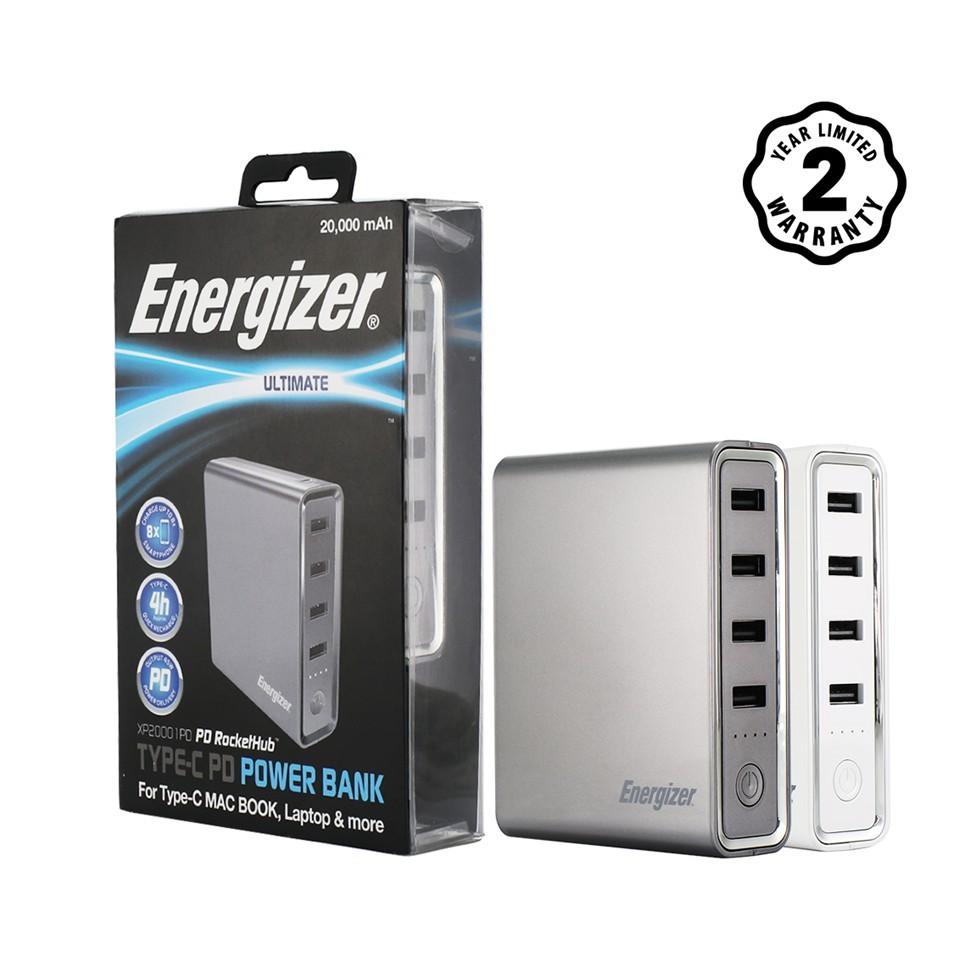 Sạc dự phòng Energizer 20000mAh màu xám 45W - XP20001PDGY (Hỗ trợ Macbook & Laptop TypeC PD)