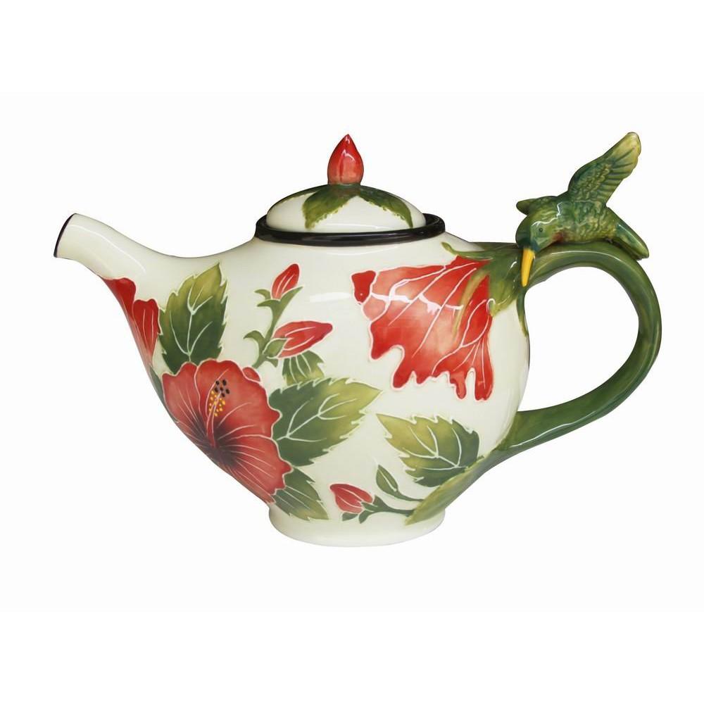Blue Sky Ceramic 10 & quot; x 5 & quot; x 6,5 & quot; Ấm trà trắng Hibiscus: Trang chủ & amp