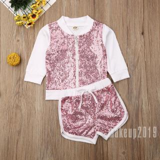 Mu♫-Toddler Kids Baby Girl Zipper Tops Jacket Shorts Sequins Outfits Clothes 1-7T