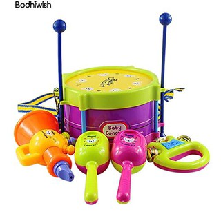 ☎5 in 1 Set kids Roll Drum Musical Instruments Band Kits baubles Gift