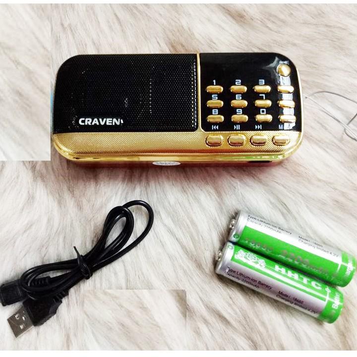 Loa đài Craven CR 836S, máy nghe nhạc đọc kinh phật dùng thẻ nhớ/USB pin siêu trâu