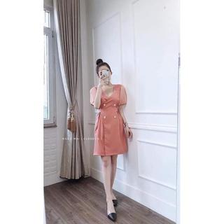 Váy tay Bồng pha Cổ V – Đầm thiết kế cao cấp cho phái Xinh