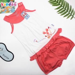 Bộ đồ sát nách bé gái KANDOO màu đỏ san hô, 100% cotton cao cấp mềm mịn, thoáng mát, an toàn cho bé- DG16SH02