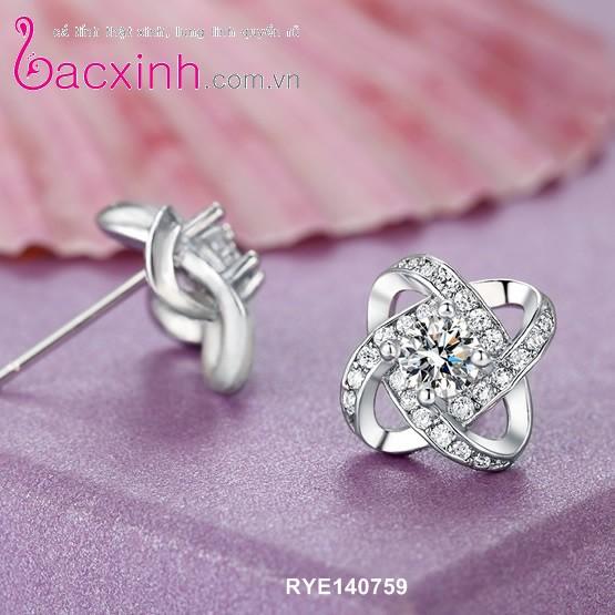 Bông tai nữ trang sức bạc Ý S925 Bạc Xinh - Hoa đá RYE140759