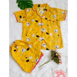 Bộ Đồ Ngủ Quần Đùi ,Áo Ngắn Vải Kate Thái Loại 1 – Nón vàng