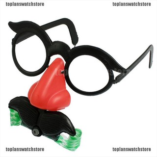 【COD•tope】Funny Clown Glasses Costume Ball Round Frame Red Nose w/Whistle Must