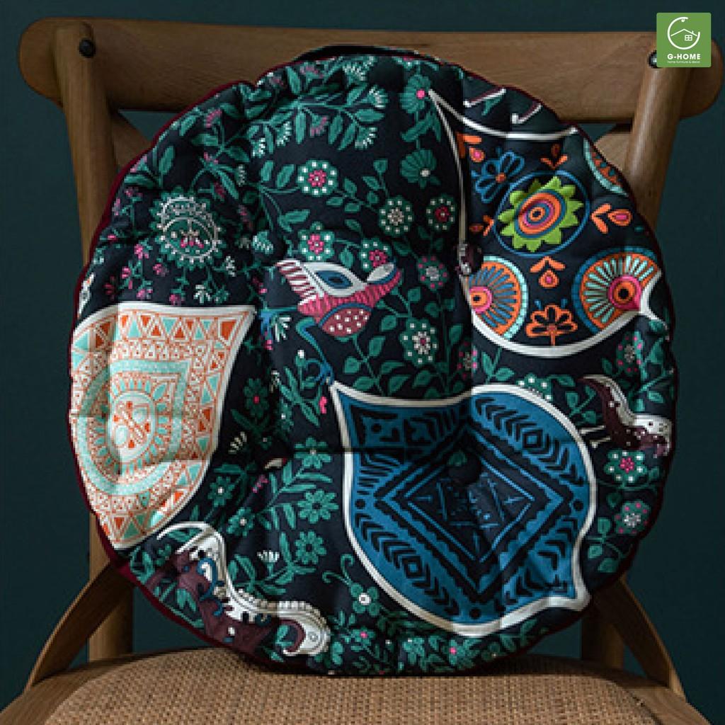Đệm tròn ngồi bệt Ghome đệm gối sofa tựa lưng vỏ nhung mềm mịn nhiều màu đường kính 40cm DT15