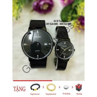 Đồng hồ cặp đôi dây thép lụa Halei Black -Gozid.watches