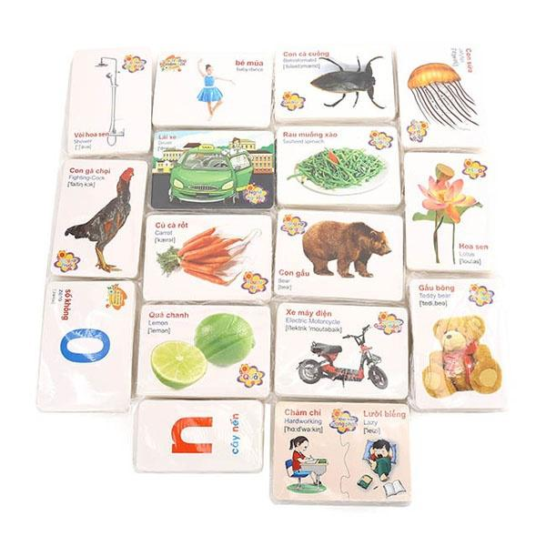 BỘ thẻ học song ngữ 16 chủ đề có hộp HÀNG LOẠI 1