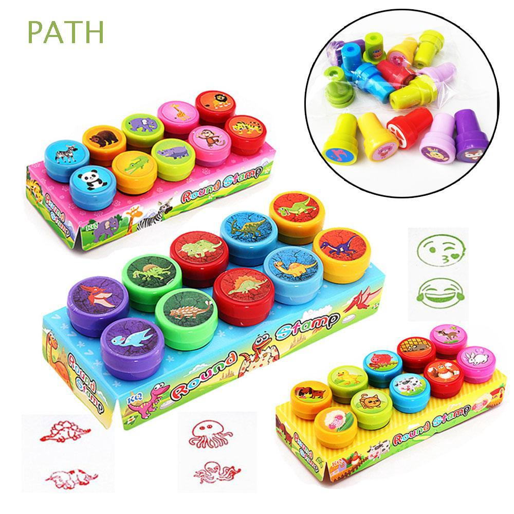 10PCS New Funny Kids Gift Smiling Face Rubber Self-ink Rubber Stamps