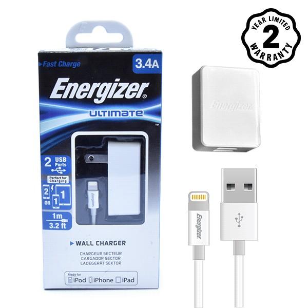 Bộ cốc cáp sạc Lightning Energizer UL 3.4A 2 cổng USB (Trắng) - Hãng phân phối chính thức