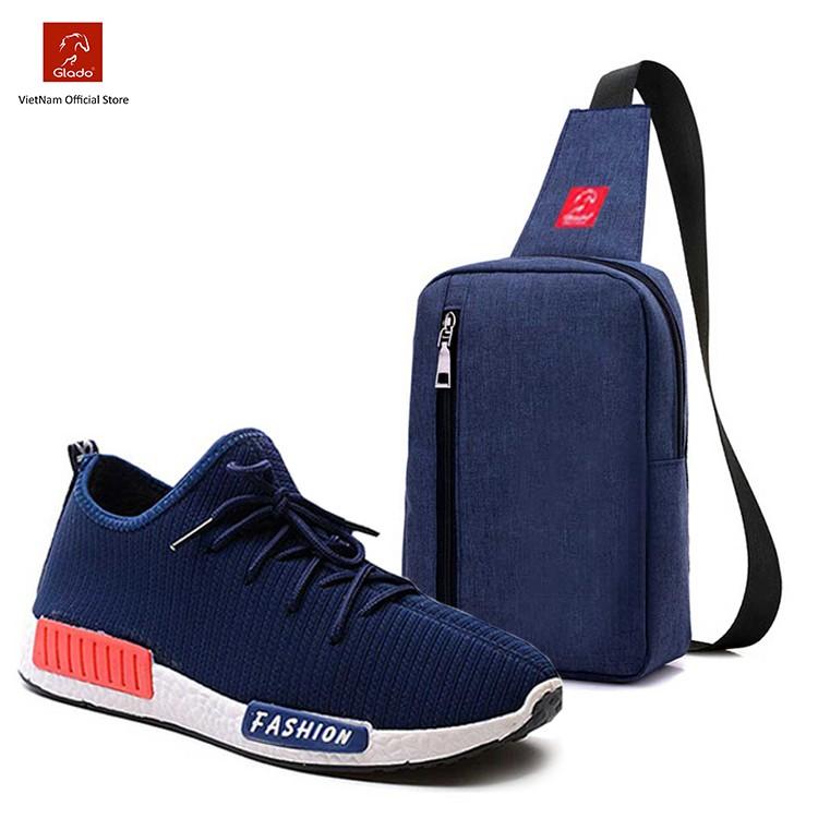 Combo Túi Messenger Thời Trang Glado DCG026 (Màu Xanh) + Giày Sneaker GS064 (Xanh)