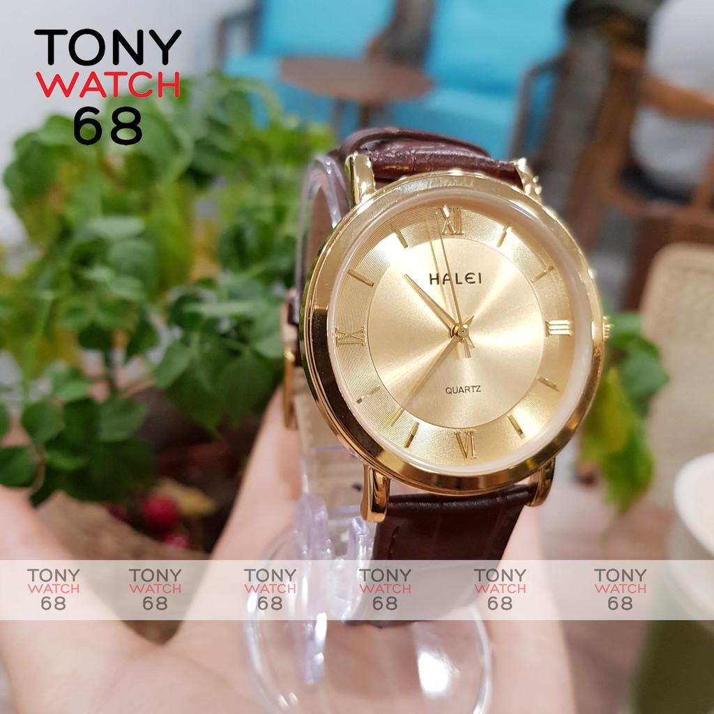 Đồng hồ nam đeo tay dây da chính hãng Halei mạ vàng thời trang giá rẻ