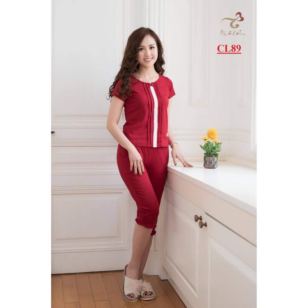 Đồ bộ mặc nhà 3T - Bộ cotton nở ren quần lửng CL89