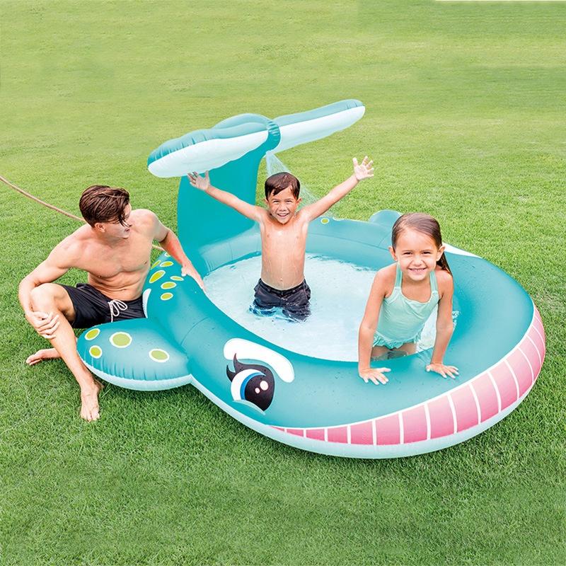 INTEX 57440 Bồn tắm phun nước cá voi Bể bơi bơm hơi PVC cho bé Bể bơi gia đình trẻ em tại chỗ