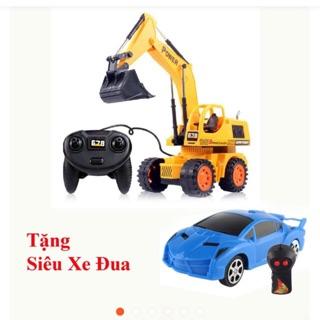 Xe cần cẩu vàng điều khiển tặng siêu xe điều khiển 2 chiều