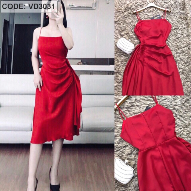 Đầm đỏ vải lụa ý bèo 1 bên