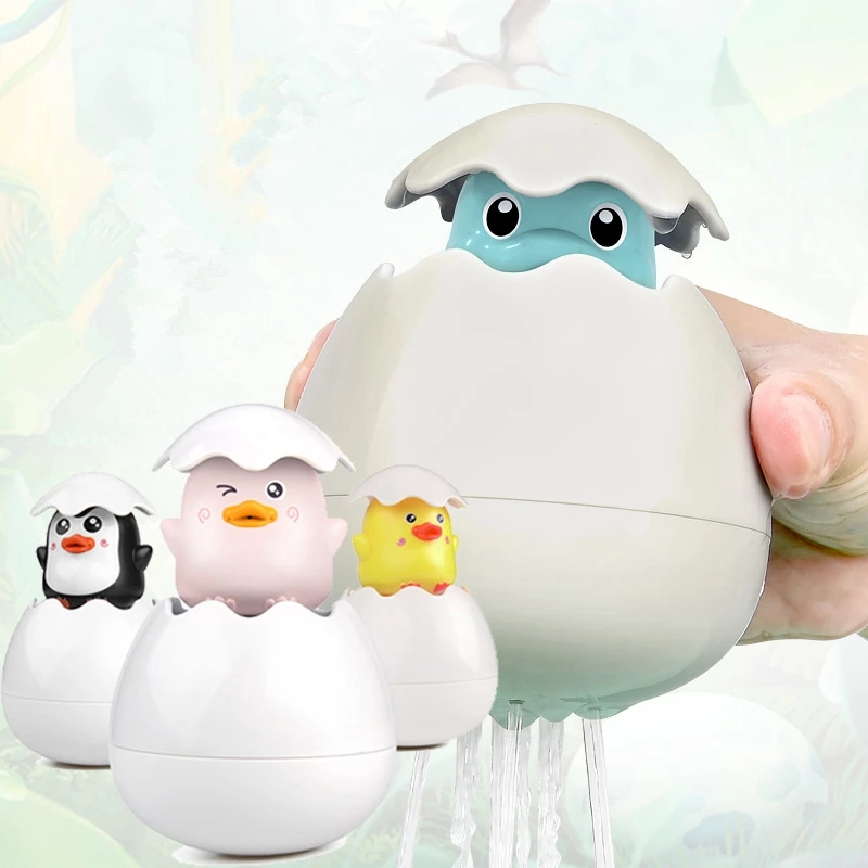 Baby Bathing Toy Kids Cute Dinosaur Duck Penguin Egg Water Spray Sprinkler Baby Shower Floating Toy Water Game Gifts SRE
