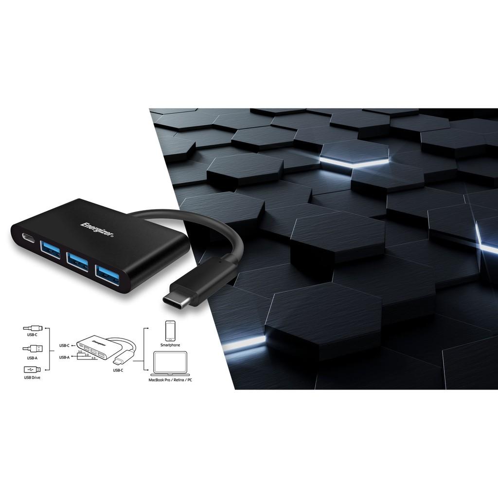 [Mã ELREHOT giảm 10% đơn 100K] Bộ chuyển USB - C 3.1 Hub Energizer 3USB-A/1USB -C-HC304AC-Bảo hành 2 năm