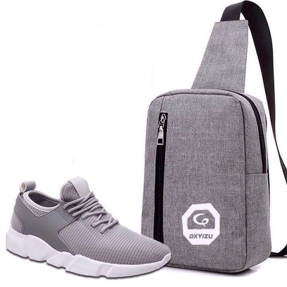 Giày Thể Thao Sneaker BTN12 Xám + Túi Đeo Chéo Thời Trang ( Xám)