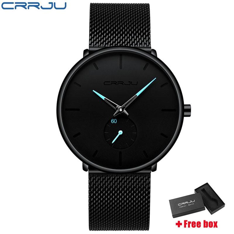 Đồng hồ đeo tay thạch anh CRRJU 2150 dây bằng thép không gỉ thời trang nam sang trọng phong cách thể thao