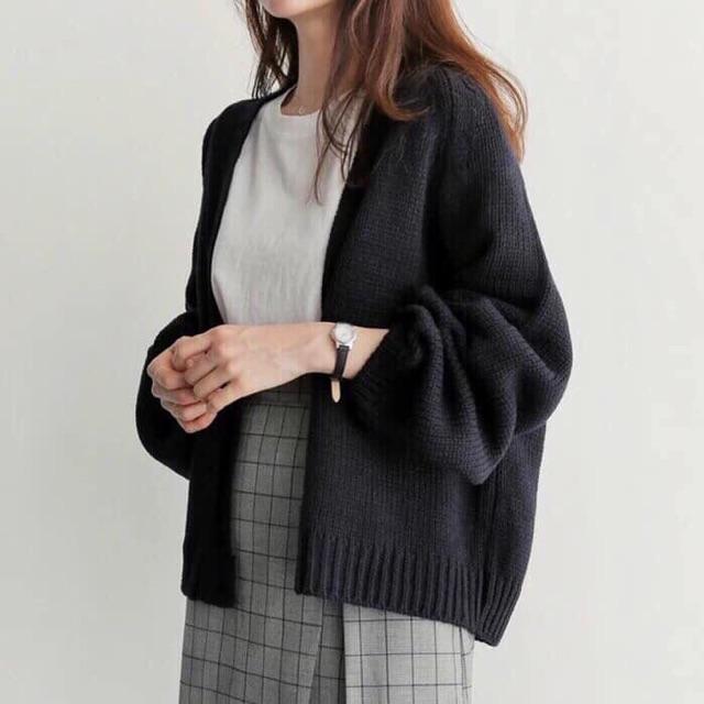 Áo khoác len cadigan mùa thu đông dày dặn