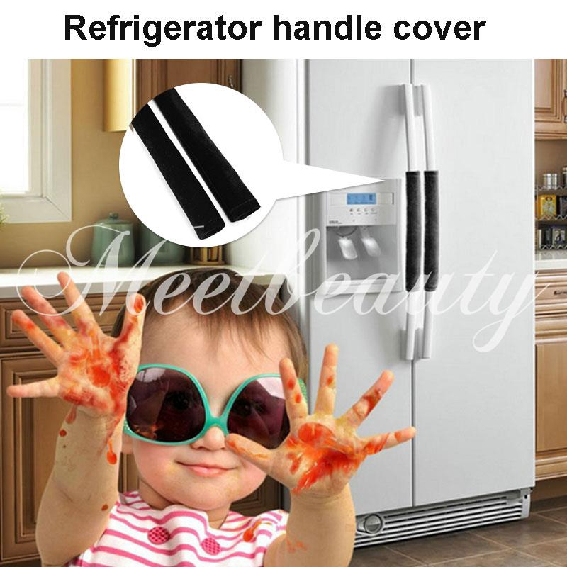 💕 Refrigerator Handle Cover Economic Flannelette Appliance Refrigerator Door Gloves Microwave Oven