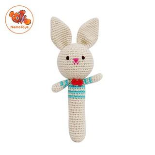 Gậy Lục Lạc Thỏ Trai – Đồ chơi len Handmade