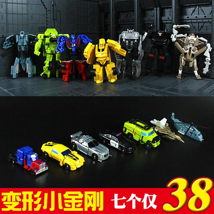 ✥▧Mini Pocket small Deformation toy King Kong 4 automobile Bumblebee Optimus Robot model Mombadi Genuine