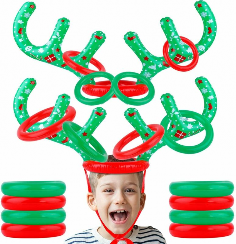 2Set Inflatable Reindeer Antler Hat Ring Toss Game Christmas Xmas Party Gift Toy