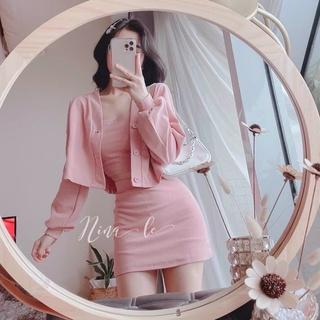 Sét Váy Ôm Kèm Áo Khoác Ngoài 3 Màu Siêu Cute Hàng Hot Trend Chất Đẹp