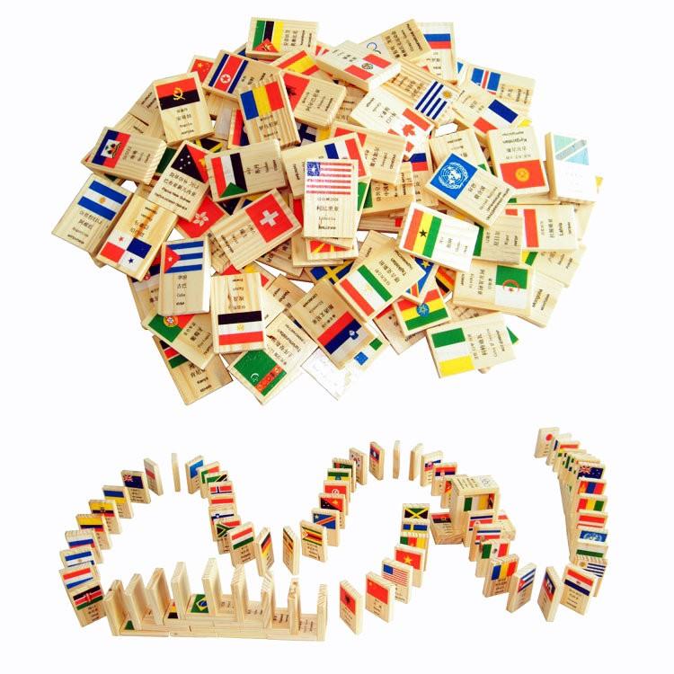 [FREE SHIP] Đồ chơi Domino cờ gỗ 100 quốc da cho bé
