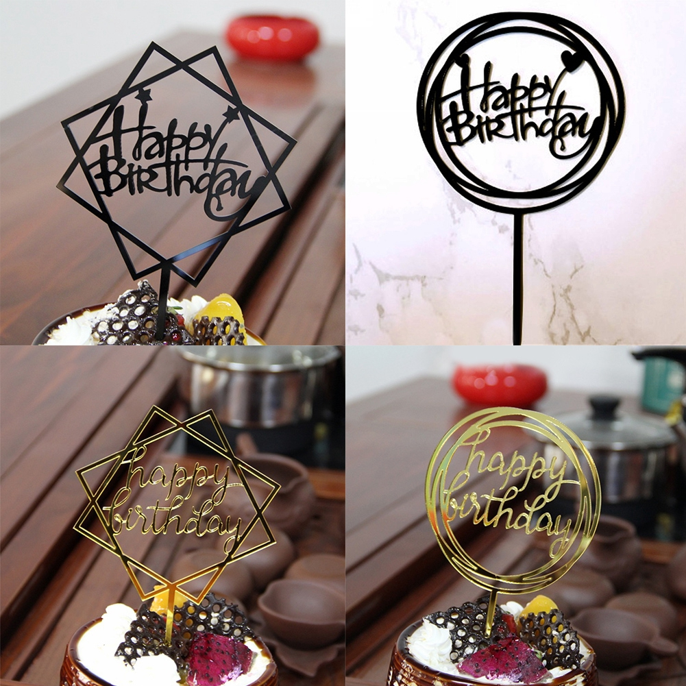 Happy Birthday Acrylic Cake Topper Cupcake Decoration Party Supplies,
