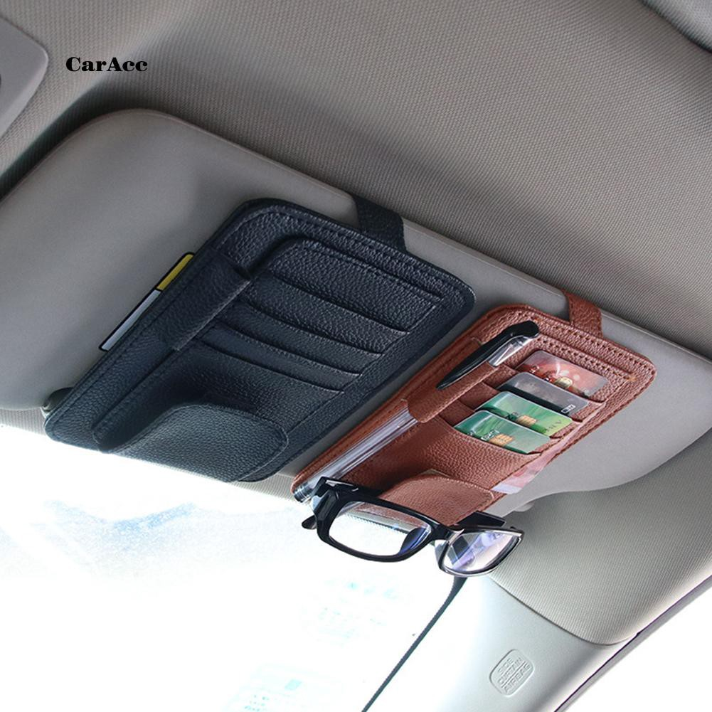 CARA_Universal Car Sun Visor Card Pen Holder Glasses Clip Faux Leather Storage Bag