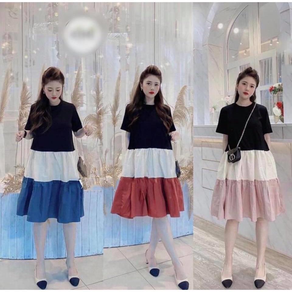 Mặc gì đẹp: Dễ chịu với Váy bầu thời trang thiết kế xuông M117 chất Cotton 100% và Đũi voan freesize từ 45 đến 70kg