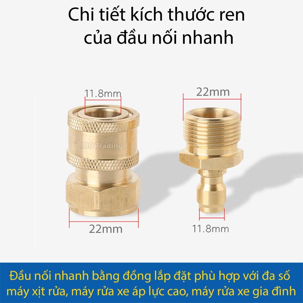 Bộ nối nhanh bằng đồng dây cấp nước vào máy rửa xe áp lực cao