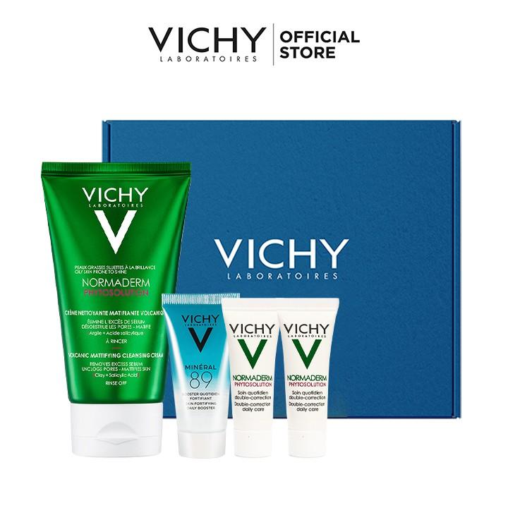 Bộ Sản Phẩm Rửa Mặt Tạo Bọt Làm Sạch Sâu Kiểm Soát Dầu Vichy Normaderm Phytosolution Volcanic Mattifying Cleansing Cream