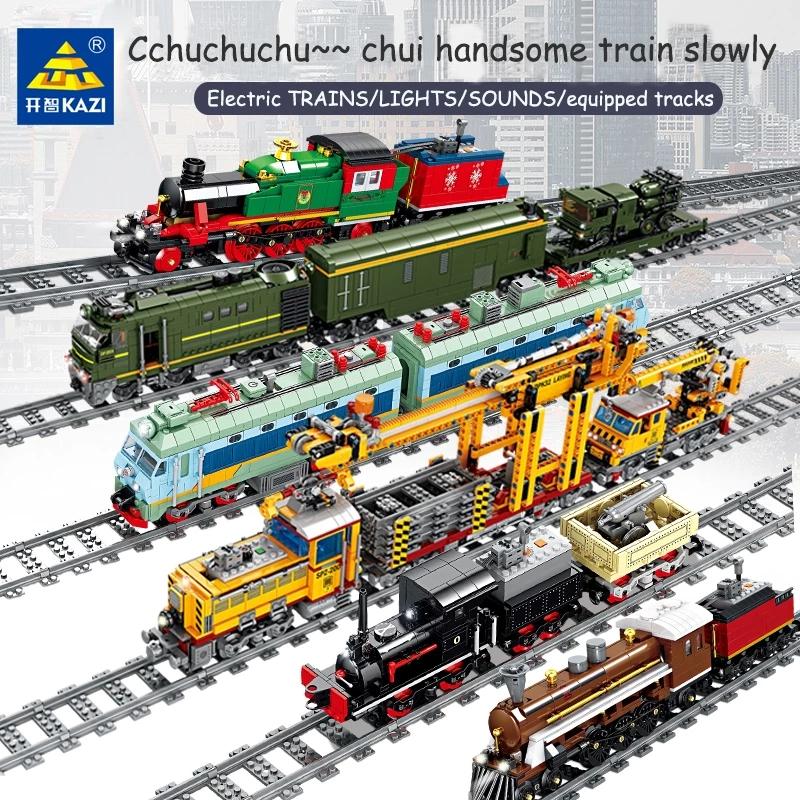 Kazi Lego City Series Electric Train High-speed Rail Train Track Insert Children Compatible Building Blocks DIY Toys