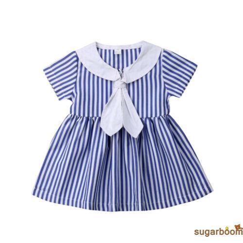 Đầm xòe ngắn tay họa tiết sọc ngang xinh xắn dành cho bé gái