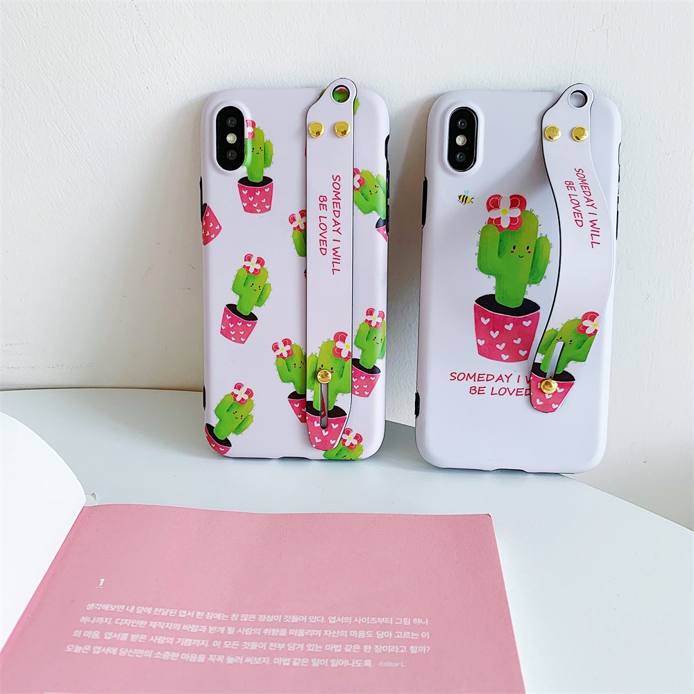 For iPhone 6s 8 Plus Cute Phone Shell XR XS MAX X/XS Case Cactus Wrist Strap Cover