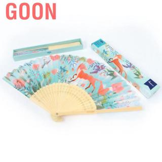 Goon Colorful and Beautiful Small Folding Bamboo Hand Fan Kids Summer Hot Day Cooling Tool