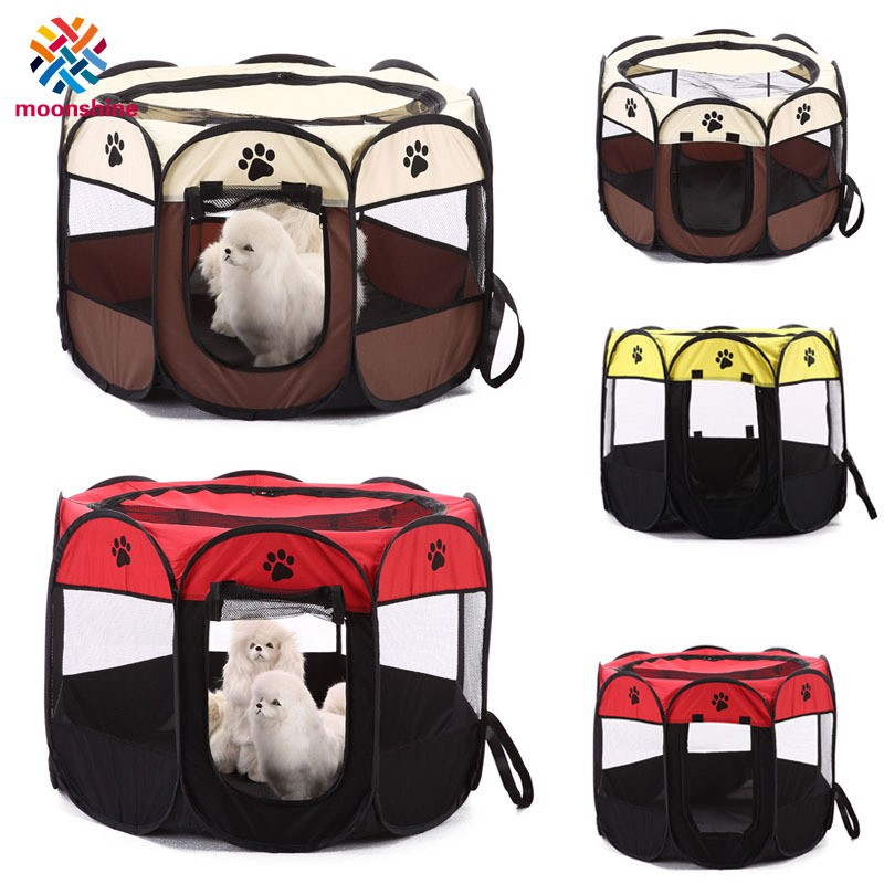 Pet Cat Dog Puppy Fence Tent Playpen 8 Panels Foldable Portable House Double Doors