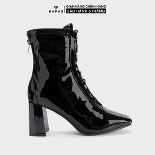 Giầy Bốt Nữ Boot Da Bóng Dây Buộc 7Phân HAPAS - BOT823