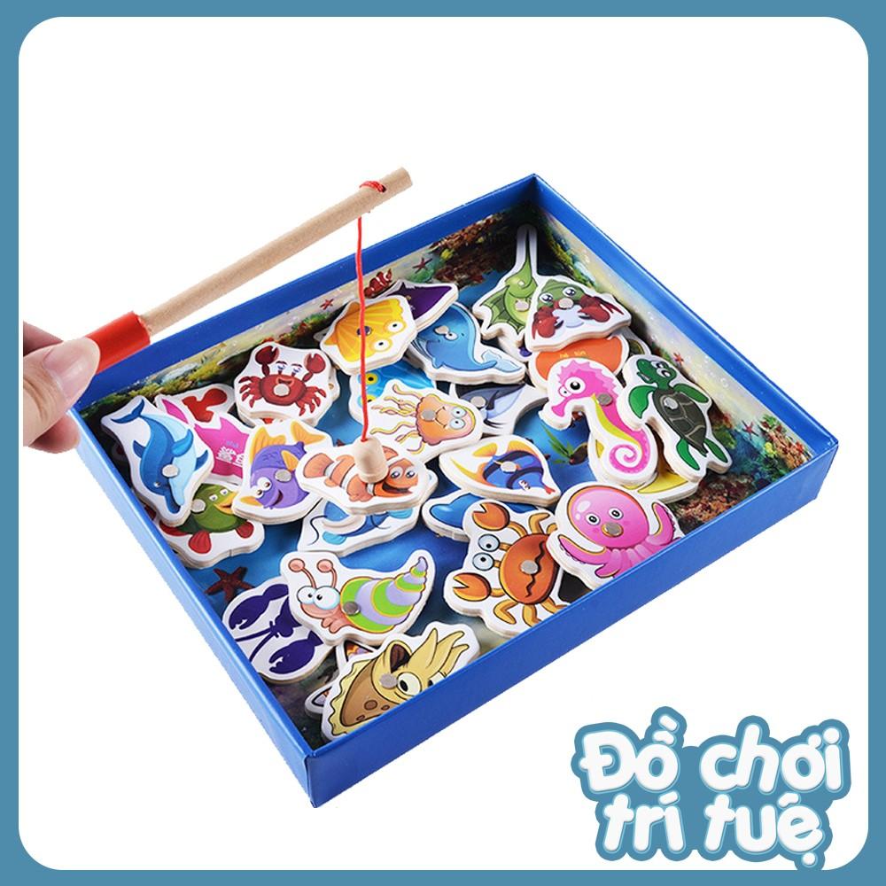 Đồ chơi trí tuệ Hộp đồ chơi câu cá gỗ gắn nam châm 32 con vật cho bé