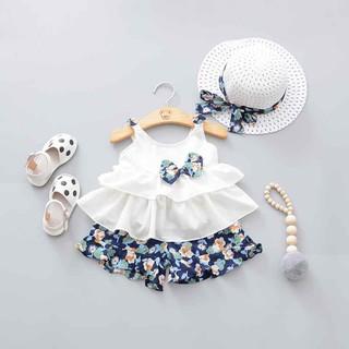 Bộ quần áo ngắn in hoa + nón rộng vành thời trang cho bé gái